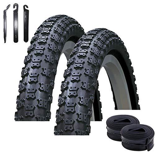 maxxi4you Kenda K-50 - Juego de 2 neumáticos para bicicleta (20 x 1,75 47-406, incluye 2 cámaras de aire AV, incluye 3 desmontadores), color negro