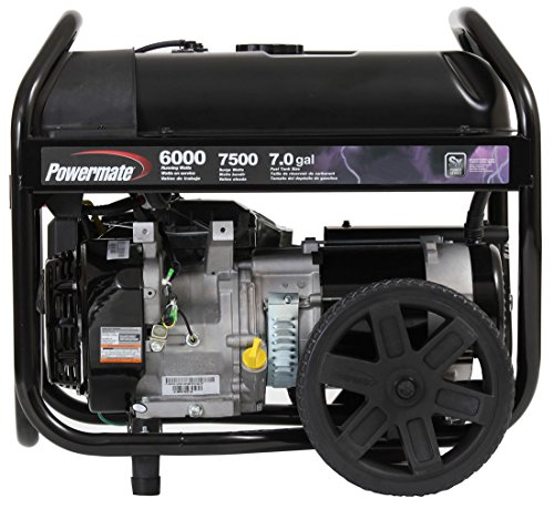 Powermate PM0126000 Portable Generator with Manual Start, 6000-watt, Black