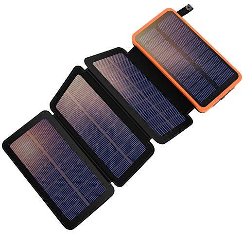YELOMIN Solar Powerbank 25000mAh Tragbares Solar Ladegerät mit 4 Solarpanels,Outdoor wasserfester externer Akku mit 2 USB Ports für iPhone, Samsung, Android Und Tablet, Kamera usw