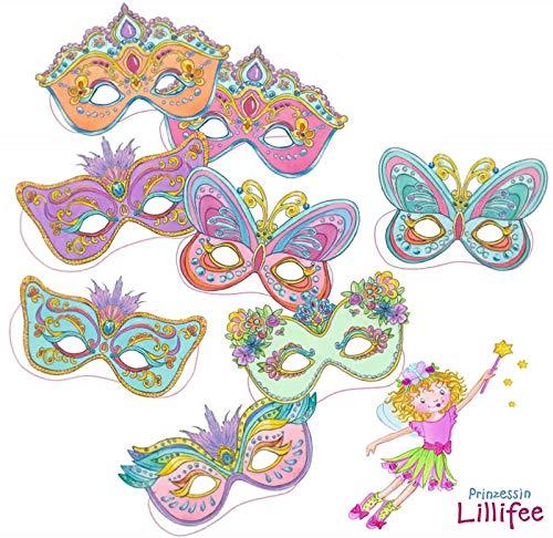 Prinzessin Lillifee 8 Masken Kindergeburtstag und Mottoparty // Mask Deko Verkleidung Kostüme Kinder Geburtstag Princess Pink Rosa Mädchen