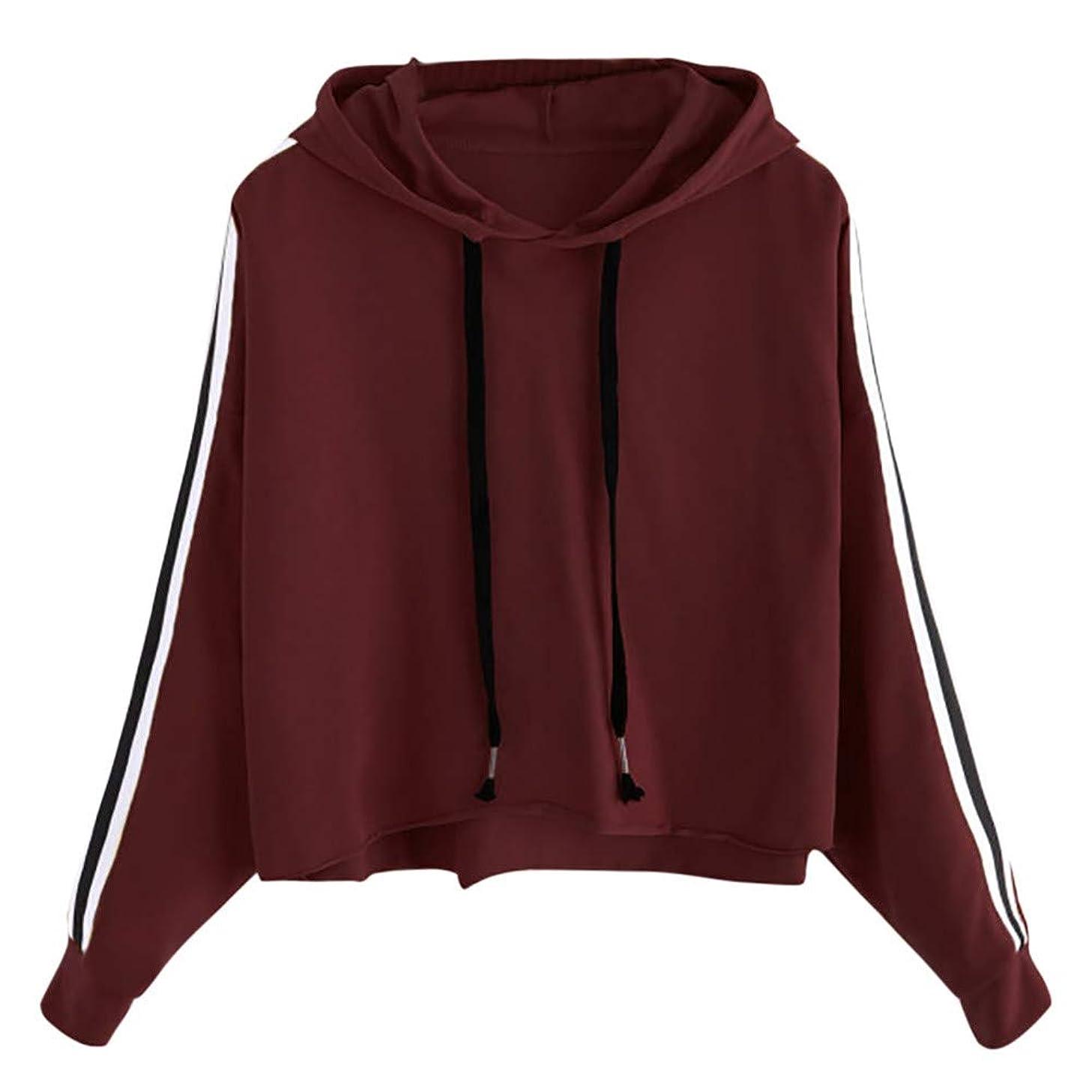 Amiley Women Fall Hoodies,Women Teen Girls Stripes Hoodie Sweatshirt Jumper Sweater Crop Pullover Tops