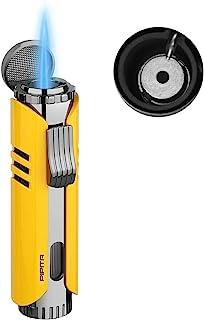 PIPITA Torch Isqueiro Windproof charuto butano gas Isqueiro Jet Single Flame Cigarette Isqueiro, Chama ajustável e Refillb...