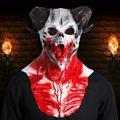 MASCARELLO Ziege Horned Adults Devil Skull Scary Latex Vollkopf und Brust Deluxe Horror Halloween Maske