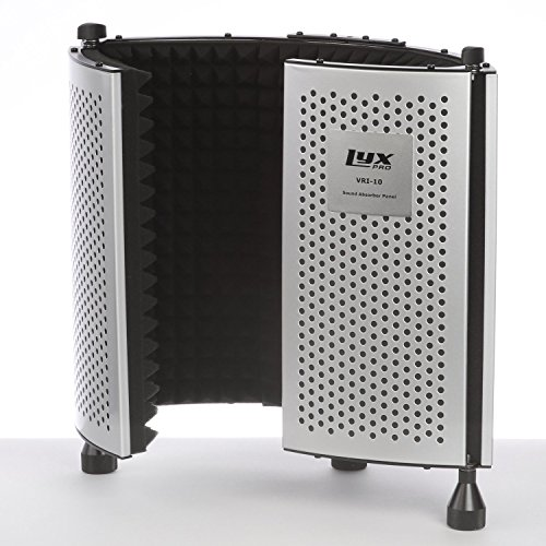 LyxPro VRI-10 Portable Adjustable Sound Absorbing Vocal Recording Panel Acoustic Isolation Microphone Foam Shield - Stand Mount or Desktop Desk Use