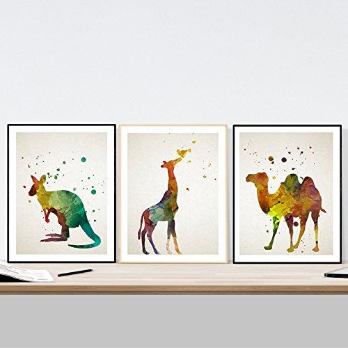 Nacnic Set di 3 Stampe artistiche con Immagini di Animali: Canguro Giraffa e Cammello. Stile Acquerello. Colori Vivaci. Pittura in Stile Nordico. Acquerelli. 250 Grammi di Alta qualità.