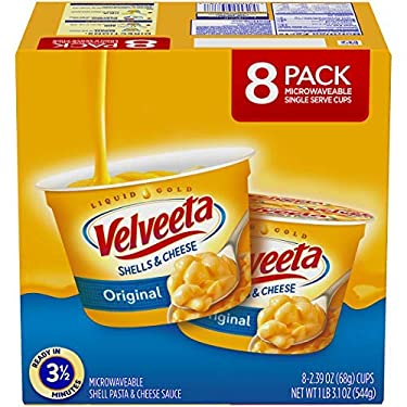 VELVEETA Original Microwavable Shells & Cheese Cups, 8 Count Box | Single Serving Cups with Delicious Velveeta Cheese Sauce | Convenient & Ready in 3.5 Minutes - SET OF 2
