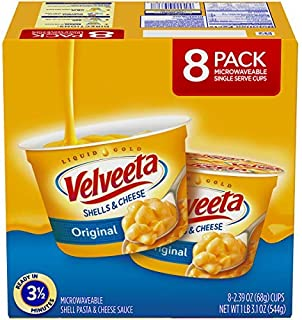 VELVEETA Original Microwavable Shells & Cheese Cups, 8 Count Box | Single Serving Cups with Delicious Velveeta Cheese Sauce | Convenient & Ready in 3.5 Minutes - SET OF 4