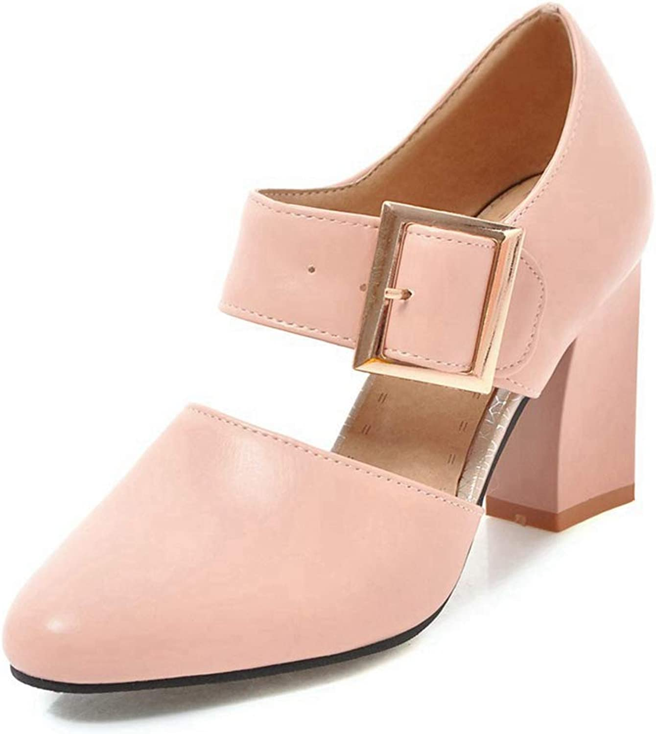 CYBLING Women's Mary Janes Wide Buckle Strap Fashion Pointed Toe High Heel Dress Pumps shoes