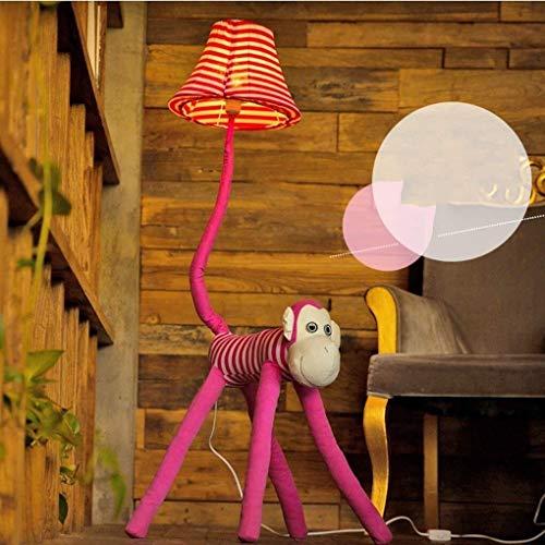 BINGFANG-W Dormitorio Llevó la historieta creativa Lámpara de pie, Rosa del mono Lámpara de piso, habitación Lámpara de la sala de estar dormitorio lámpara de cabecera de la Infancia, Eye-Cuidado Vert