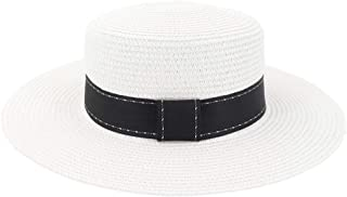 Beach Sun Hat Summer Women Straw Beach Sun Visor Flat Top Hat New Women Travel Holiday Solid Color Hat (Color : White, Size : 56-58CM)