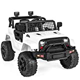 FOR KIDS 37 MONTHS & OLDER: This small yet powerful ride-on is perfect for your little racers who want to start driving like the grownups do! POWERFUL 12V & REALISTIC DESIGN: Adjustable seatbelt, bright LED headlights, lockable doors, and grid windsh...