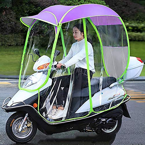 XLBHSH Cubierta de sombrilla de Motocicleta eléctrica Universal, Scooter de Motor Completamente Cerrado Mobility Sun Shade y Cubierta de Lluvia Impermeable,Púrpura