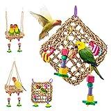 Juguete para Loros, Juguetes para Masticar Loros, Juguete de Loro para pájaros, Alfombra Tejida de Paja Natural Comestible 18 x 18 cm