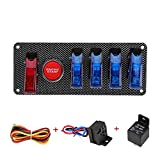 12V Ignition Switch Panel for Racing Car Engine Start Push Button Switch Panel 6 in 1 Carbon Fiber LED Toggle Switches for Race Car RV Sport Competitive