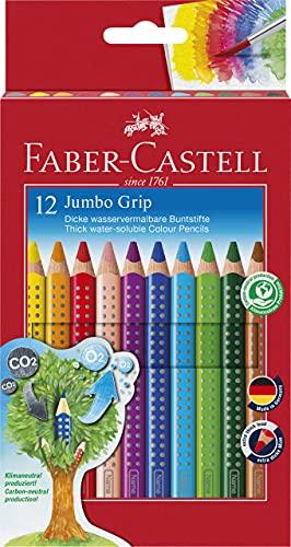 Faber-Castell 110912 - Farbstifte Jumbo GRIP, 12er Kartonetui, inklusive Spitzer