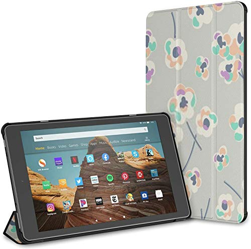 Case Cover Compatible with 10.1' Amazon Fire HD 10 Tablet (9th / 7th Generation, 2019/2017 Release),Ditsy Retro Flower Print Seamless Background