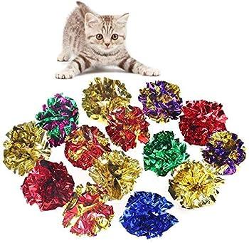 Lot de 10 balles Namgiy - En aluminium - Jouets pour chat et chatons - Font des bruits de crépitements - Couleur aléatoire