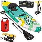 SUP Stand Up Paddle Board | 160kg | Windsurf Anschluss | Drybag | 340x89x15cm | Kajak Sitz| Surfbrett aufblasbar iSUP Leash Paddel