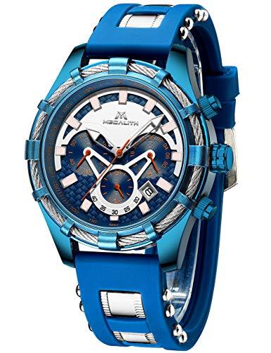 Relojes Hombre Reloj Cronógrafo Deportivo Militar Hombres Relojes Analógicos Impermeables de Goma para Hombres Reloj Militar con Calendario Grande y Luminoso - Azul y Marrón de MEGALITH (2Azul)