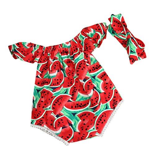 Switchali Vestidos Nina Fiesta Recién Nacido Bebé Niña Verano Ropa sandía Mono Moda sin Tirantes Mameluco Traje de baño Casual Playa + Bowknot Venda Jumpsuit para Ninas 70 (0~6meses)
