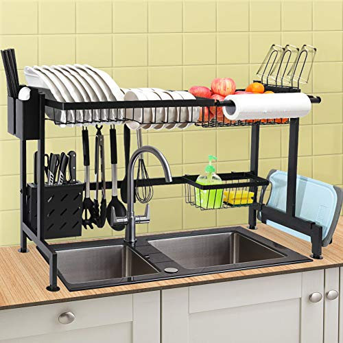 CHASSTOO Over The Sink Dish Drying Rack Above Sink Kitchen Drain Drainage Rack Stainless Steel Oversink Decor Dish Drainer Dishrack Sink Size ≤ 329 inch Anti-Scratch Matte Black