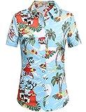 SSLR Women's Santa Claus Party Tropical Ugly Hawaiian Christmas Shirts (Small, Blue)