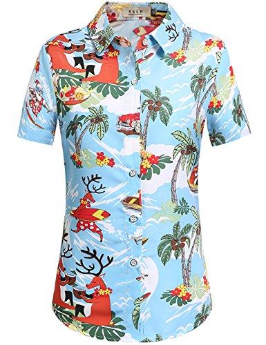 SSLR Camisa Estilo Hawaiana Tropical Estampado Navideño Manga Corta para (Large, Azul)