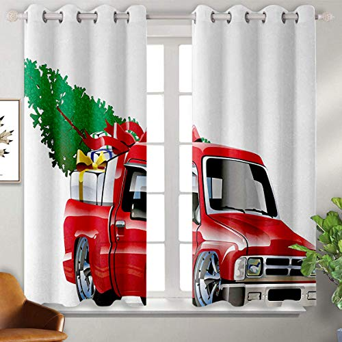 June Gissing Christmas Grommets Curtain for Bedroom Red Pickup Truck with Big Gift Boxes and Tree Xmas Art Prints Farm Theme Print Happy Birthday Blackout Curtains W55 x L72 White Red