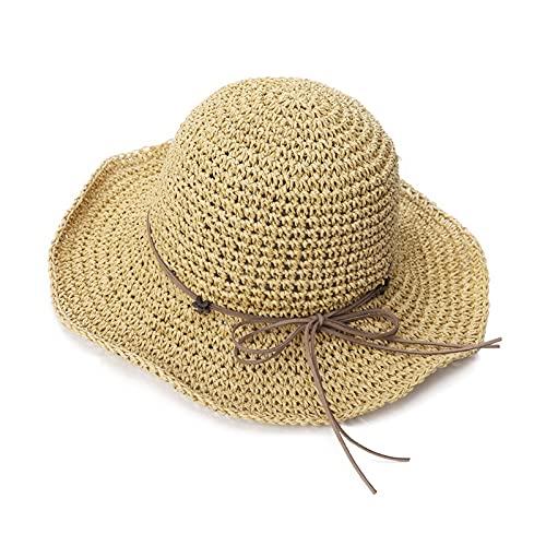 Sombrero para el Sol COMPACIDOS Sombrero de cubeta de Paja de Verano para Mujer Sol UV Protección Panamá Playa Plegable Damas empacables (Color : Beige 1, Size : M)