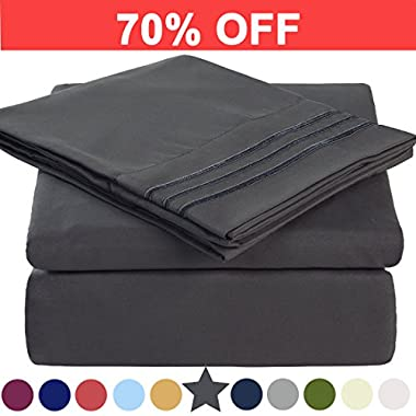 Microfiber King Size Bed Sheet Set - Made Of 100% Brushed Microfiber Polyester 1800 Series - Extra Deep Pocket - Stain Resistant, Warm, Breathable And Hypoallergenic - 4 Piece (Dark Grey) - TEKAMON