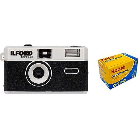 イルフォード スプライト 35mm フィルムカメラ ILFORD SPRITE35-II FILM CAMERA ブラック&シルバー カラーネガフィルムセット