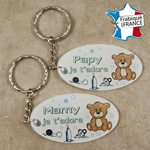 Lot 2 Portes Clefs - 1 Papy + 1 Mamy (Cadeau anniversaire, noël pour papi et mamie, fête des grands pères grands mères …)