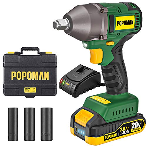 "Impact Wrench, Brushless 20V MAX Cordless, 300 Ft-lbs Max Torque with 3 Speed Transmission, 1/2"" Hog Ring Anvil, 59 Min Fast Charger, 3 Sockets, 2.0Ah Li-ion Battery, Tool Box - POPOMAN BHD850B"