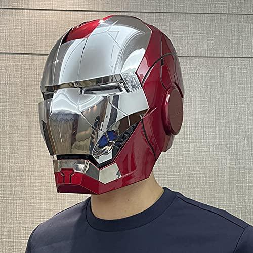 QWEASZER Maschera per elmetto Iron Man Maschera Luminosa, Marvel Avengers in plastica Maschere per caschi integrali Halloween Film Cosplay Costume Puntelli,Iron Man Helmet Mask-<55cm