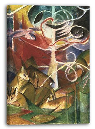 Printed Paintings Leinwand (60x80cm): Franz Marc - Rehe im Wald I (1913)
