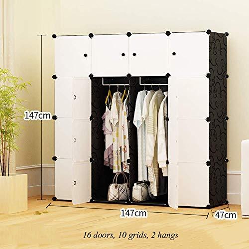 ZLMI Simple Armoire Simple Moderne Assemblée Petite Armoire Chambre en Plastique Combinaison Rangement casier,147 * 47 * 147CM