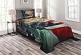 ABAKUHAUS Amerikanische Flagge Tagesdecke Set, Feuerwerke Juli 4, Set mit Kissenbezug Romantischer Stil, für Einzelbetten 170 x 220 cm, Mehrfarbig