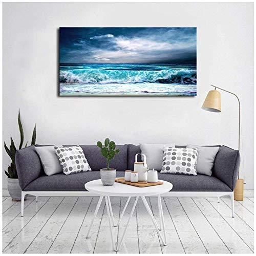 Ywsen Ozean Aqua Wellen Leinwand Wandkunst Bild Stürmisches Wetter Blauer Himmel Kunstwerk Blau Meer Strand Malerei für Office Home Wall Decor Geschenk Gift kein Rahmen 60x120cm