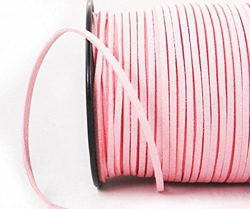 4.6 m 15 pies 5yrd Rosa de Terciopelo Plana de Gamuza Sintética Abalorios Plana Cable de Cordón de Cuero de Cadena de la Joyería Suministros de Artesanía de 3 mm x 2 mm