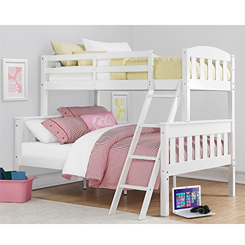 Dorel Living Airlie Solid Wood Bunk Beds Twin Over Full with Ladder and Guard Rail, White