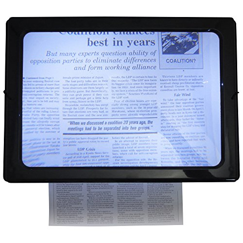 MONOZY 大型 拡大鏡 27 x 20cm テーブル型 スタンド ルーペ 広い視野 ライト付き 4LEDで視界クリア 読書 手芸 緻密作業 【クリーニングクロス + 便利な収納バッグ セット】 大きな 拡大鏡