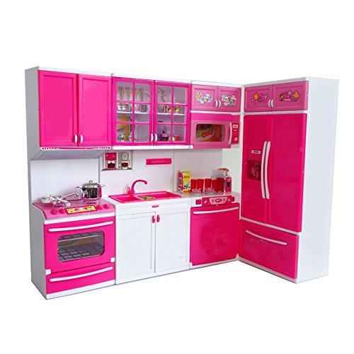 風の翼@適用します子供の家、ごっこ遊び キッチンセット とともにライト、音楽やアクセサリー付き 4つのモジュールは思うままに組み合わせます ピンク(L*H*W=49*32.5*7CM)