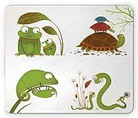 爬虫類マウスパッド、爬虫類家族カラフルな赤ちゃんヘビカエル忍者タートルズ愛母家族テーマ、四角形滑り止めゴムマウスパッド、、緑茶色