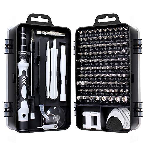 Gocheer 115 en 1 mini set tournevis precision kit tools petit boite tournevis torx informatique demontage pc portable pour macbook,iphone,réparation,lunettes,bricolage,montre,smartphone (noir)