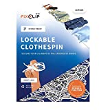 FIXCLIP Mini 16-Pack - The Worlds Strongest Clothespin - Lockable & Storm-Proof - Never Lose Your Laundry Again!