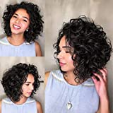 8 Inch Jerry Curly Human Hair Ombre Bundles Human Hair Extension For Bob Hairstyle 300g/Pack 1B Natural Black Color Weave Hair Human Bundles Brazilian Hair Bundles For Black Women(8Inch6pcs,1B)