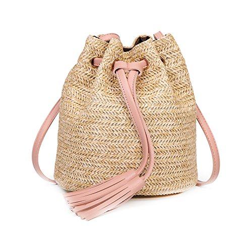 Haodou Bolsa de Playa Casual Mini Bolsas de Paja Bolsas de H