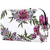 Bolsa de maquillaje personalizable, bolsa de aseo portátil para mujer, bolso cosmético, organizador de viaje, tulipán jazmín