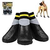 Z-Y Perro Zapatos Calcetines 4pcs / set impermeable al aire libre antideslizante Antimanchas gato del perro calcetines botines zapatos Wth suela de goma de la pata del animal doméstico del protector f