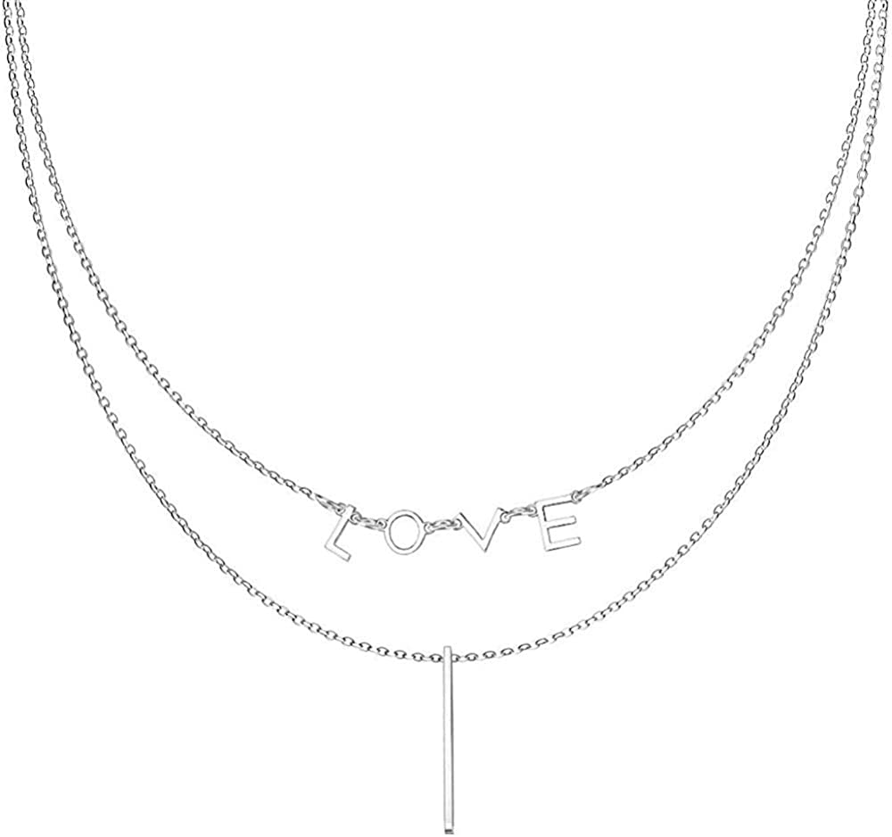 Covet Jewelry Rectangular Bar and Love Charm on Double Layered Stainless Steel Chain Necklace